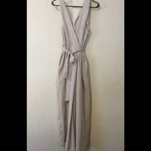 NEW w/out tags: Tan Striped Jumpsuit